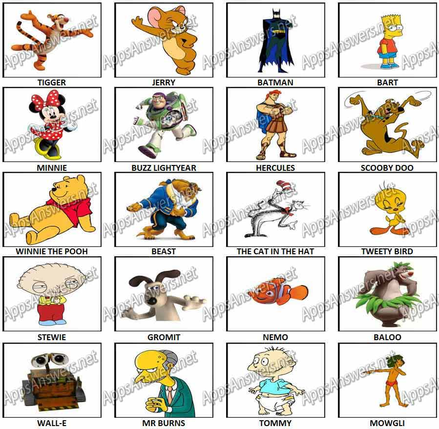 100 Pictures Cartoon Characters 100 pics – cartoon characters answers | apps answers