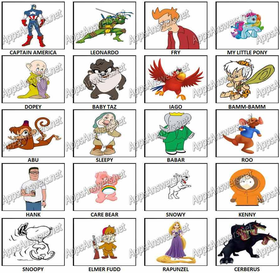 100 Pictures Cartoon Characters 100 pics – cartoon characters level 21 – level 40 answers