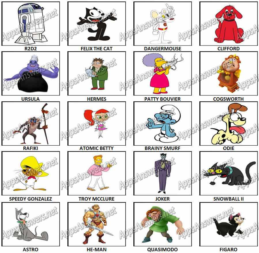 100 Pictures Cartoon Characters 100 pics – cartoon characters level 41 – level 60 answers