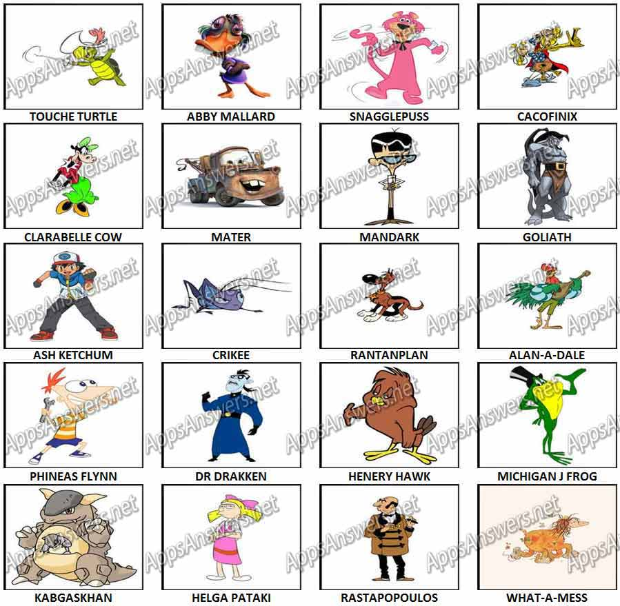 100 Pictures Cartoon Characters cartoon character picture quiz | pictandpicture