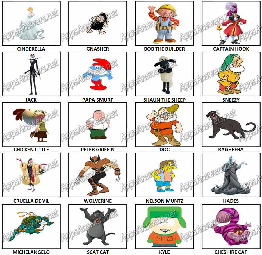 100 Pictures Cartoon Characters 100 pics cartoon characters 2 level 21 – level 40 answers