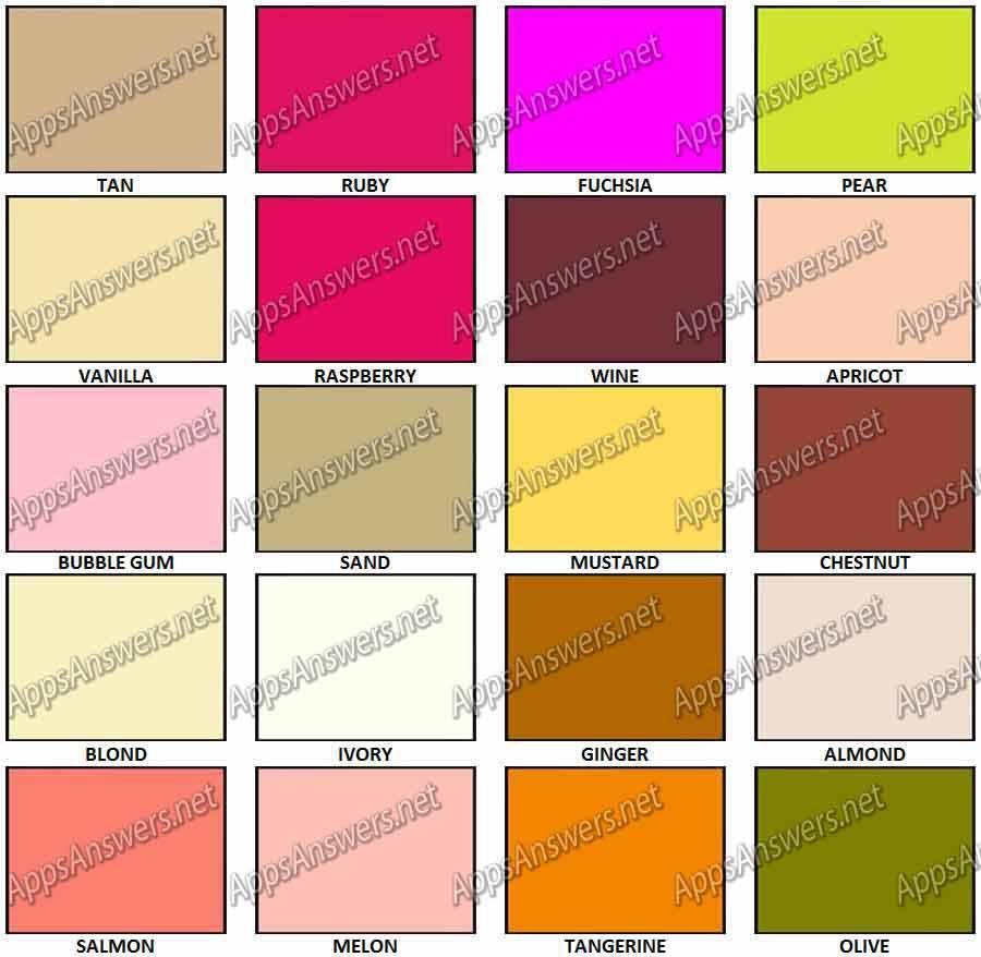100 pics colours level 41  u2013 level 60 answers